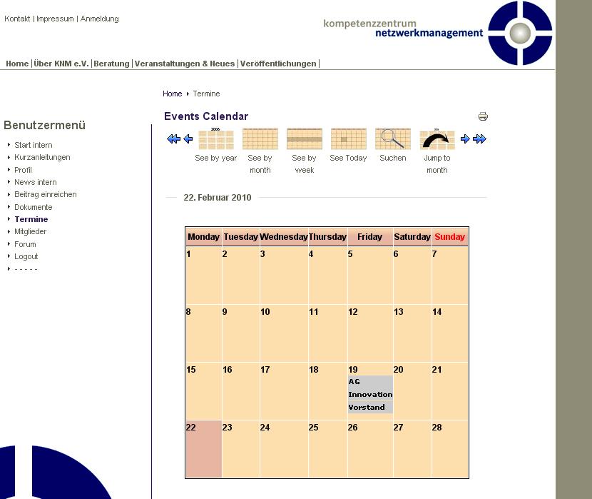 Kompetenzzentrumnetzwerkmanagement.de interner Eventkalender