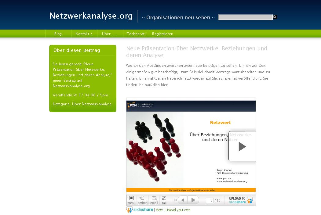 Netzwerkanalyse.org Artikelansicht